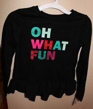Cat & Jack Long Sleeve Shirt Top Girls Sz M New OH WHAT FUN Black Ruffle Hem New