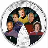 2017 Star Trek™ Five Captains - 2 oz. Pure Silver Coloured Glow-in-the-Dark Coin