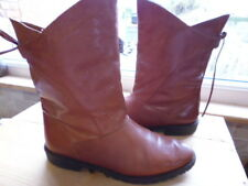 LADIES WOMEN'S VINTAGE 80'S BROWN LEATHER MID CALF BOOTS SIZE 5