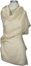 Edler Schal mit Swarovski Elementen Wolle Seide wool silk white Weiß Abenschal