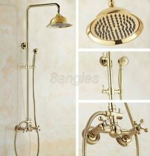 Polished Gold Brass Double Cross Handles Bathroom Rain Shower Faucet Set 8gf323