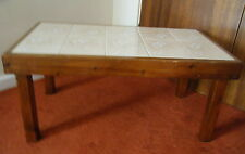 """Wooden Oblong Coffee Table 10 Beige Tile Topped approx H 15"""" W18"""" L 31"""" Col PE7"""