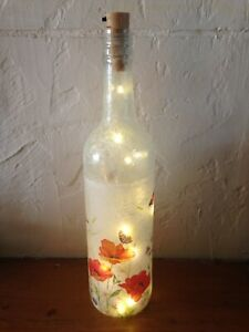 LED Light up poppy Meadow Design Bottle Unique Gift