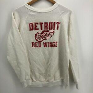 Unbranded Sweatshirt Men's M White Detroit Red Wings Hockey Vintage 1980's USA