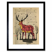 Upcycle Dictionary Stag Deer Drawing Red Framed Wall Art Print 12X16 In