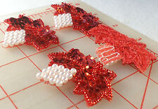 """24 vintage beaded sequin grape appliques red leaves pearl grapes 12 pair 1 5/8"""""""