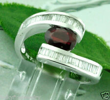 1.49 ct 14k Solid White Gold Natural Ruby & Diamond Ring Stylish Bypass Design