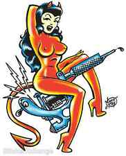Tattoo Gun Girl Sticker Decal Poster Art Vince Ray VR25