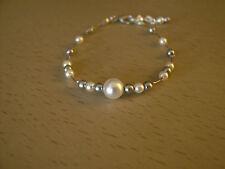 Bracelet Blanc/Gris  pr robe de Mariée/Mariage/Soirée perles de verre nacrées