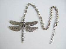 A Large Antique Silver Tone Dragonfly Pendant Necklace, Long Chain Necklace 24""