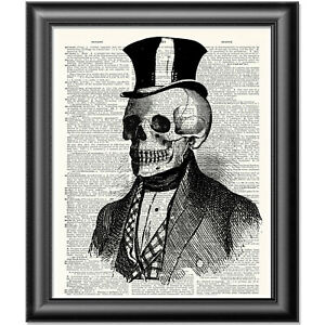 VICTORIAN Gentleman ANATOMICAL PRINT on antique dictionary book page Skull