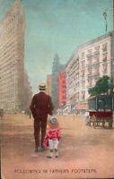 Following in Fathers Footsteps Little Girl in Bloomers c1911 Vintage Postcard