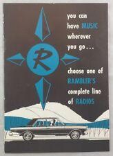 Orig Manufacturer Brochure Catalog Scarce Rambler Car Auto Radios