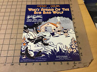 vintage Original sheet music: MICKEY MOUSE who's afraid of the big bad wolf 1933