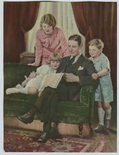 1920's-30's Vintage Print Kids Mom Dad reading paper Mom in Pink M. George