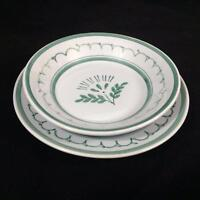 Arabia Finland Green Thistle Pottery Bread Butter Plate & Fruit Dessert Bowl 2pc