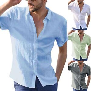 Mens Linen Short Sleeve Shirts Beach Button Down Tops Blouse T-Shirt Holiday