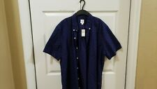 Men's Gap Short Sleeve Button Down Shirt New XL Blue With Red Polka Dots