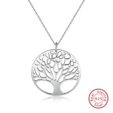 24MM Tree of Life Pendant & Necklace Chain Real S925 Wedding Engagement Jewelry