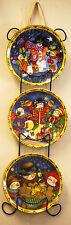 3pc Multi-Color Snowman Decorative Wall Plates & Rack