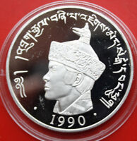 Bhutan Kingdom: 300 Ngultrum 1990 PP-Proof Silber Coin, KM# 61, #F 1225