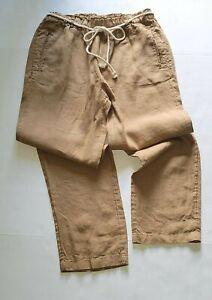 C & C California Womens Camel Brown Two Pocket Linen Pants Tie Waist NWT Size M