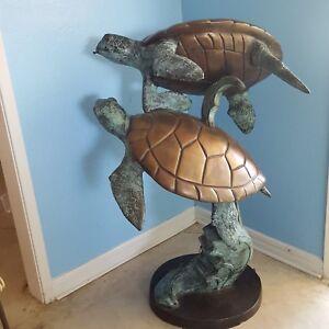 VTG 3.5' Bronze Sea Turtles Garden Pond Spitter Statue Lost Wax Solid Yard Art