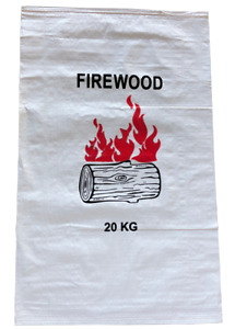 Pack of 100 - Printed 56 x 91 cm White Woven Polypropylene Firewood Bags