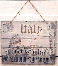 Wall Art Wooden Sign Italy Colosseum Twine Rope Rustic Antiqued Home Decor 58cms