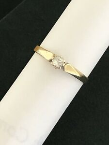 Vinatage 9ct gold diamond solitaire ring  0.18ct Size P Engagement. Stacking