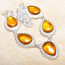 "Handmade Elegant Orange/Yellow Citrine 925 Sterling Necklace 19.5"" #N01052"