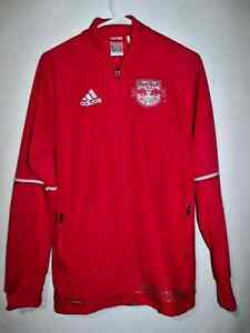 NWOT ADIDAS New York Red Bull Climacool Soccer Official MLS Jacket Size S Red
