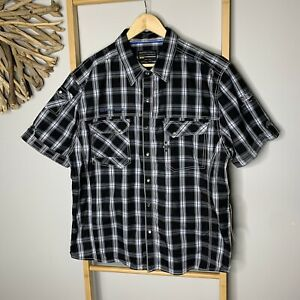 NEW Insitu //DNM75 Men's Size XXL Black Short Sleeve Check Shirt 100% Cotton NWT