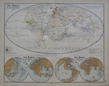 1911 MAP ~ WORLD AT THE TREATY OF SARAGOSSA 1529 ~ SCHONER ~ BEHAIM 1492