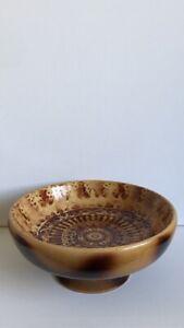 Handmade European Maple Wood Pedestal Bowl With Mandala Pyrography Pattern