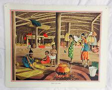 Cartel Original Vintage escuelas-dentro de una casa Zulu C 1920s/1930s