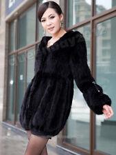 100% Real Knitted Mink Fur Long Coat Outwear Jacket Hoodie Fashion Custom Warm