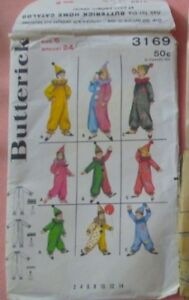 Vtg Butterick 3169 Childrens Clown Costume Hat 1960's size 6