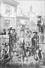 PORTUGAL - PORTO : MARCHANDES de POISSONS - Gravure du 19e siècle