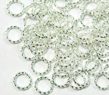 100 Jump Rings, Silver-plated Brass, 8mm Twisted Round, 16 Gauge Open