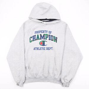 Vintage CHAMPION Big Logo Grey 00s Pullover Hoodie Mens L