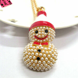 Red Girl Pearl Cute Enamel Snowman Bow Pendant Betsey Johnson Chain Necklace