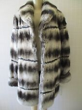 TERRY LEWIS GRAY MIX FAUX FUR LONG SLEEVE BEADED COAT SIZE L - NWT