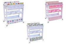 Clamaro mobiler Wickeltisch mit Badewanne, Wickelauflage, Rollen, Ablagefächer,