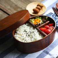 Bento Box Wood Lunch Box Dinnerware Food Container Travel Lunchbox Tableware SP