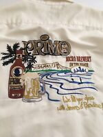 GO BAREFOOT Mens 2XL Outdoor Primo Micro Brewery Hawaiian Cream Shirt