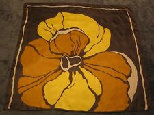 "Vintage 27"" Brown Silk Scarf w/ Large Yellow, Tangerine, Off White Orchid Flower"