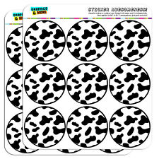 "Cow Print Black White 2"" Scrapbooking Crafting Stickers"