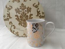 "Set Of 4 Coffee Mugs By Rosanna ""Parisian Wallpaper"" Gold"