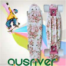 "22"" Street Retro Style Skateboard Mini Fish Board Teenager Kid Gift Pink Flower"